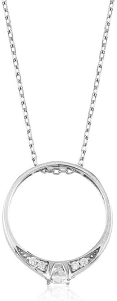 KOKANA Sterling Silver Single Stone Ring Necklace