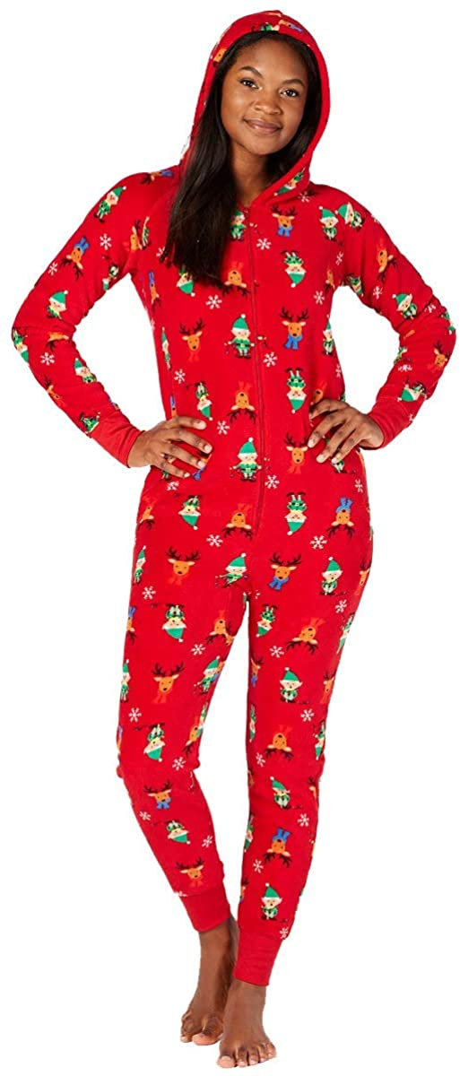 Family Pajamas Womens Matching Hooded One-Piece (Elf, Large)