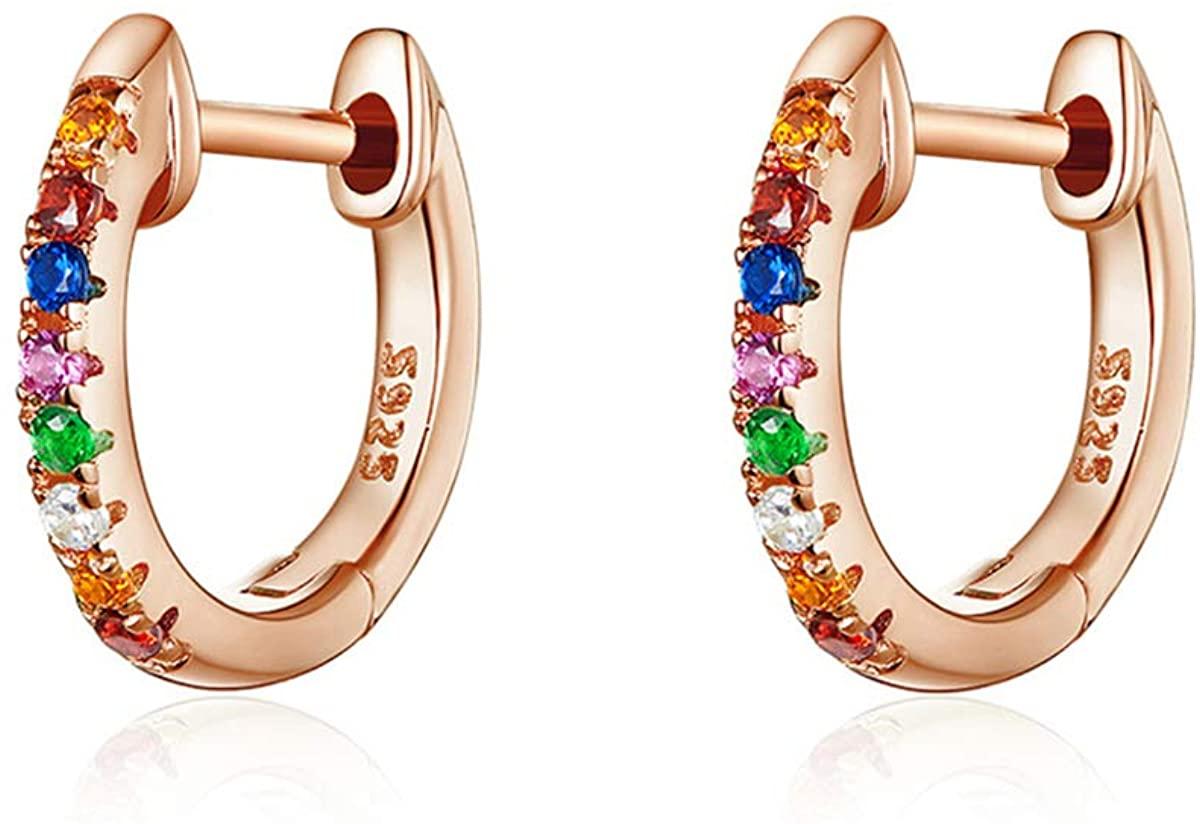 Hoop Earrings for Women Girls Sterling Silver Fashion Jewelry Stud Earrings Rainbow Cubic Zirconia Small Huggie Hoop Earrings for Cartilage Hypoallergenic Earrings Wedding Valentine's Day Gift