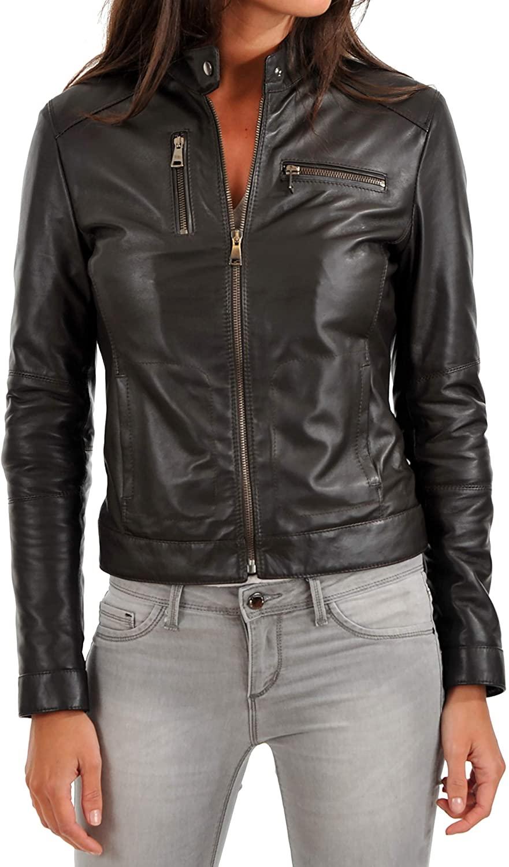 KAINAT Women's Lambskin Leather Craft Bomber Biker Jacket 214