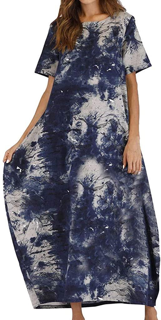 BB67 Women Casual Loose Dress Vintage Print O-Neck Short Sleeve Long Maxi Dress
