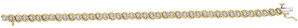 Solid 10k Yellow Gold Round Diamond Tennis Bracelet 1/2 Ct.