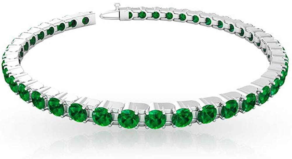 5.04 Ct Emerald Tennis Bracelet, Bridal Wedding Bracelet, Statement Birthstone Bracelet For Her, Bridesmaid Chain Charm Bracelet