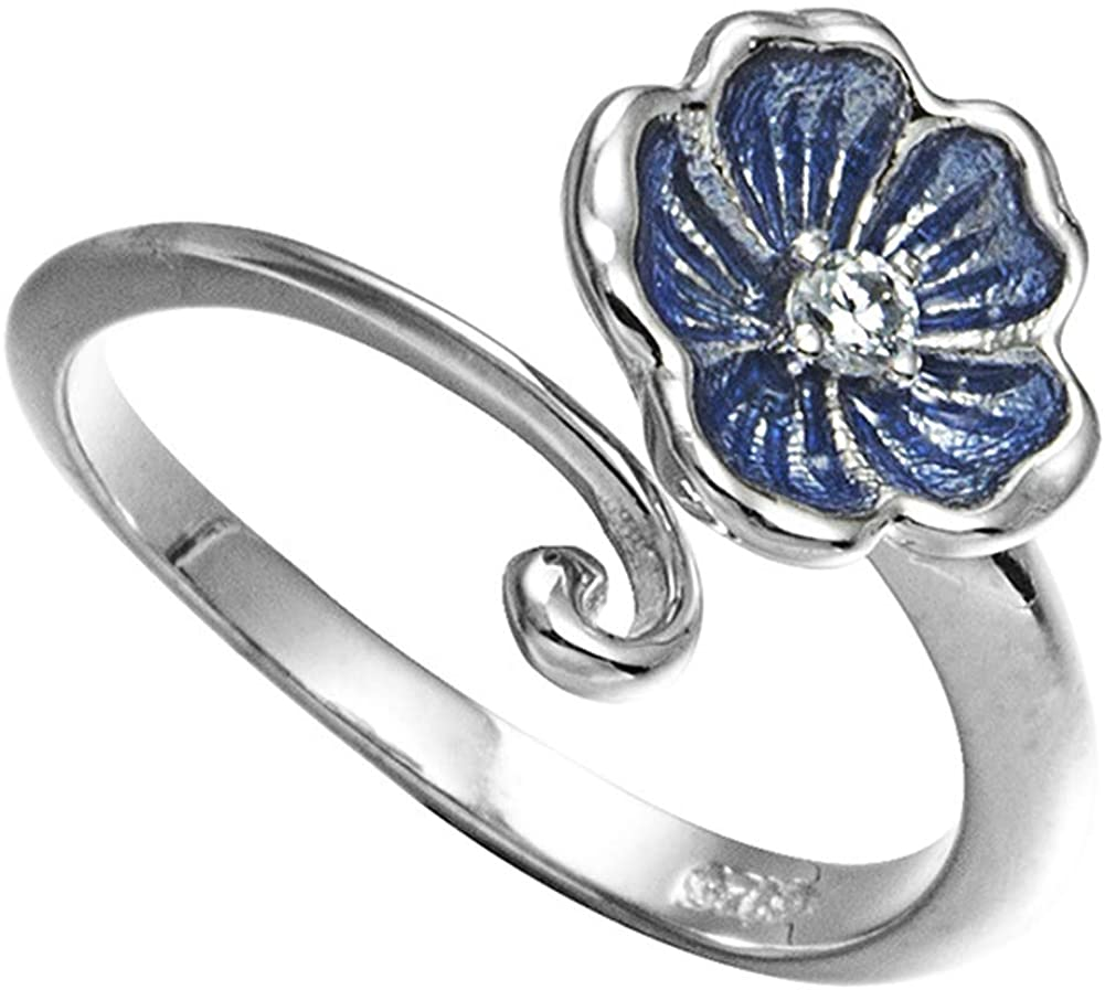 SUNDAY ROSE Women's 925 Silver Ring Adjustable Opening Flower Stacking Ring