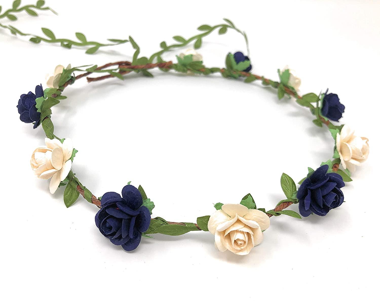 Daddasprincess Girls Ivory Rose Floral Crown Wreath Wedding Flower Headband Headpiece (Navy Blue)