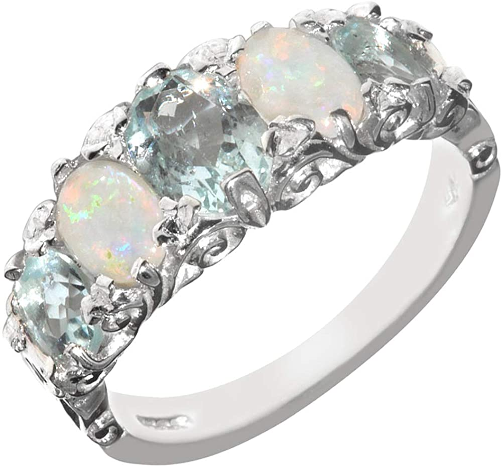 925 Sterling Silver Real Genuine Aquamarine and Opal Womens Band Ring