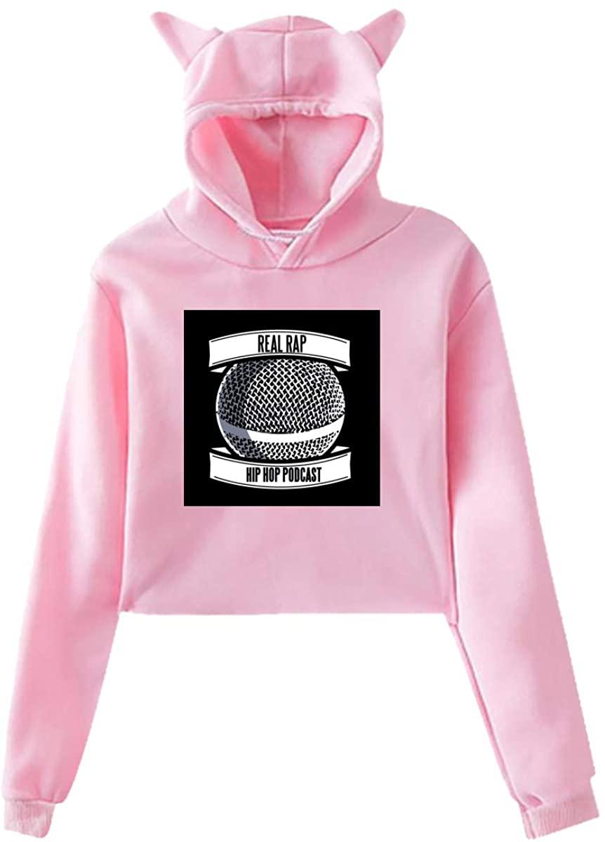 Hip Hop Rap Rr Hoodie Cat Ear Sweater Exposed Navel Fashion Kawaii Casual Sweatshirt for Womens