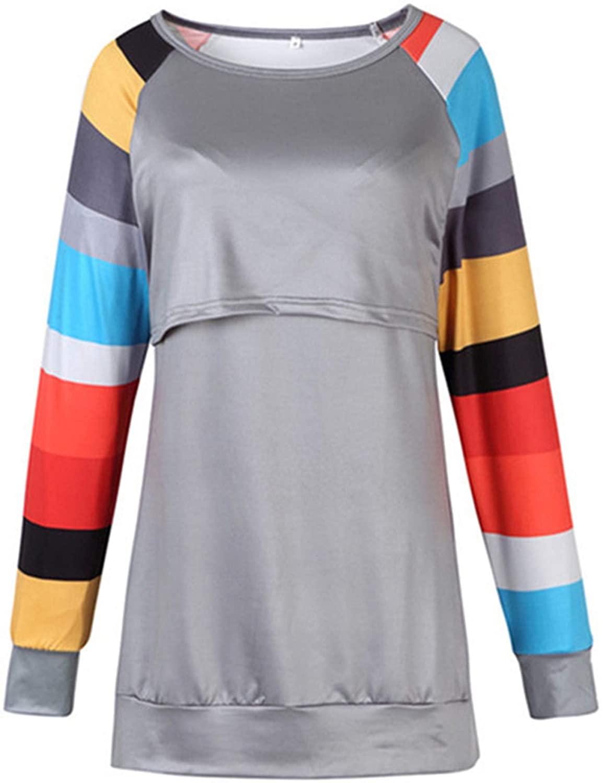 MANLUODANNI Women's Maternity Nursing Tops Double Layer Long Sleeve Pregnancy Shirt