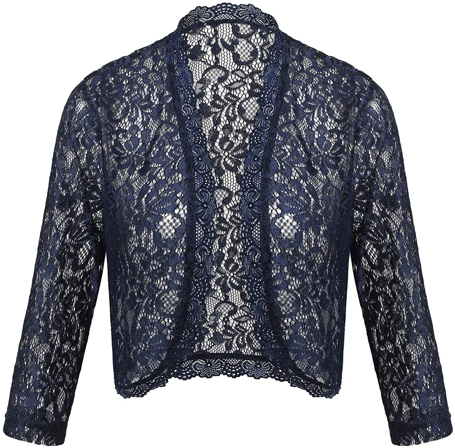 ThinIce Women's Lace Bolero Shrug 3/4 Sleeve See Through Wedding Cardigan Jacket