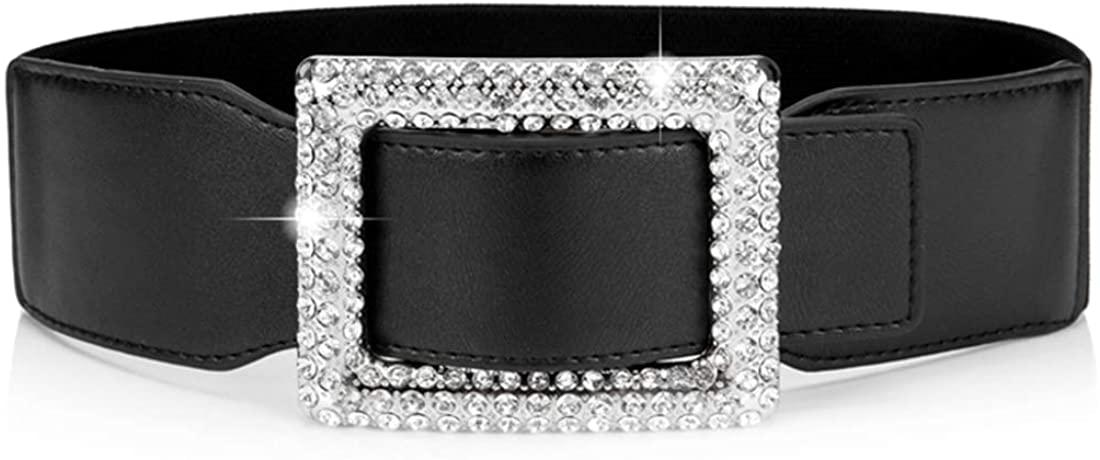 Belts For Women With Big Rhinestone Square Buckle -Wide Elastic Waist Dressy Strentch Waistbands Belt