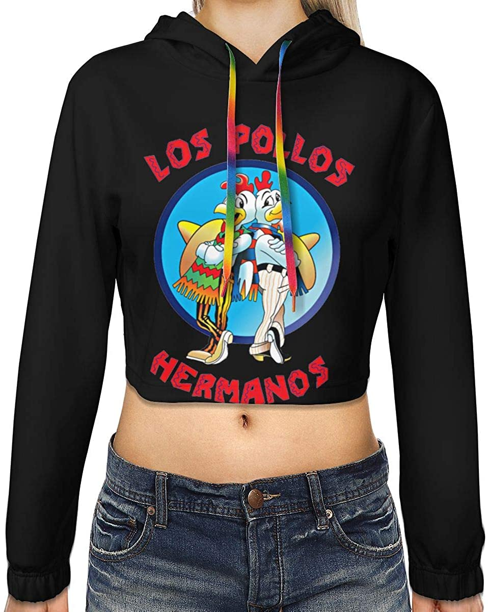 Yangxud Women's Los Pollos Hermanos Fashion Navel Exposed Hooded Sweater
