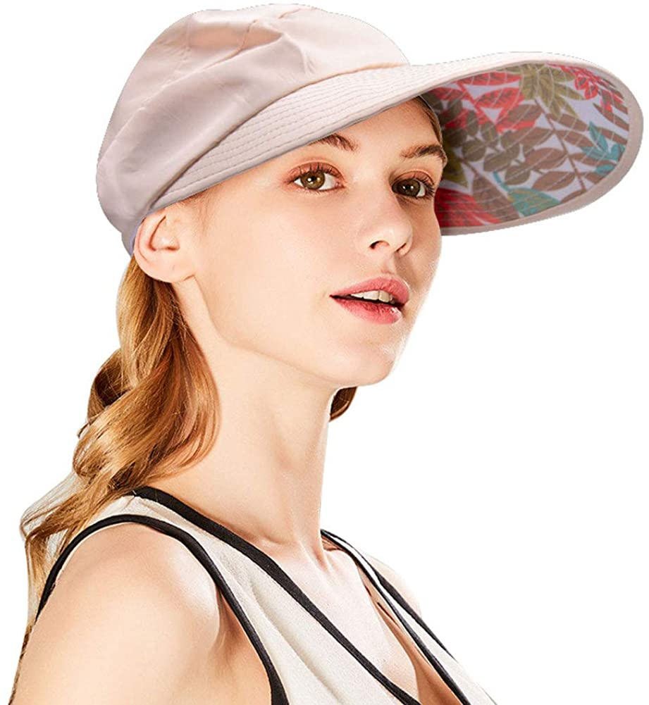 Sun Visor Hats Wide Brim Floppy Mesh Outdoor Summer UV Protection Packable Beach Cap with Detachable Chin Strap for Women