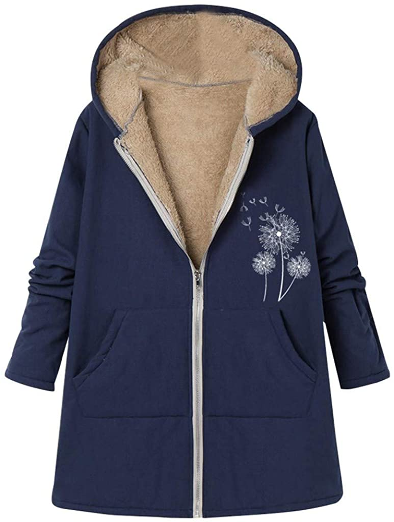 Forwelly Women Plus Size Winter Hooded Coat Fashion Dandelion Print Jacket Loose Long Sleeve Zipper Outwear with Pocket