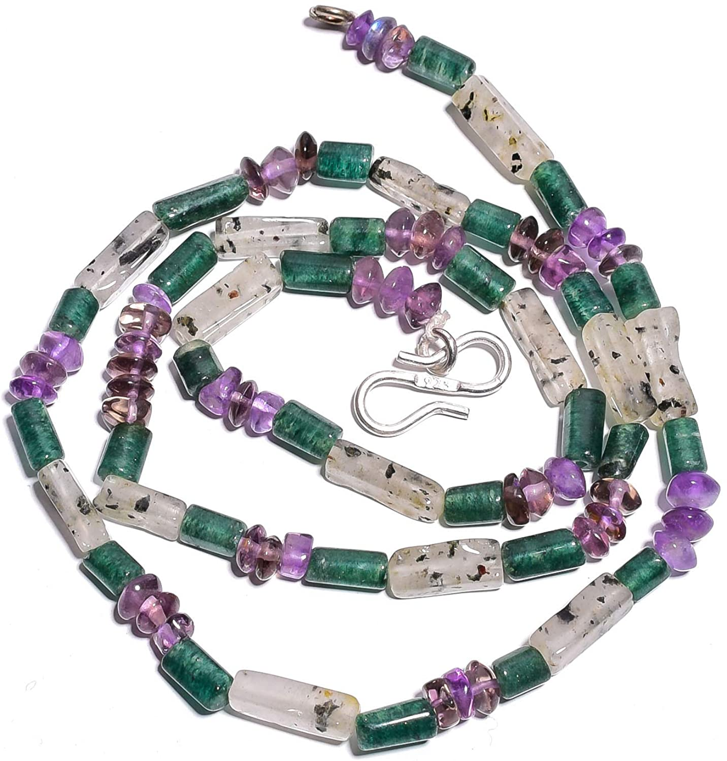 Unique Beads Green Aventurine Amethyst Rutile Quartz Gemstone Beads Necklace 18
