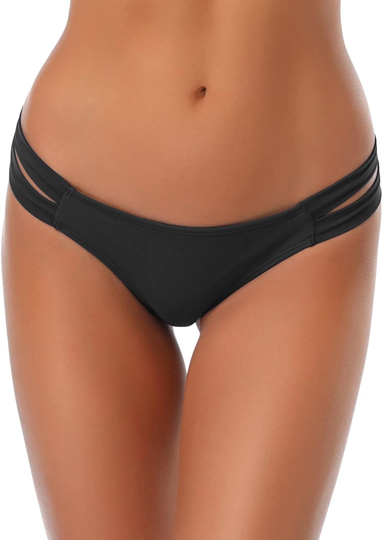 SHEKINI Cheeky Bikini Bottoms Strappy Low Rise Brazilian Thong Swim Shorts for Women