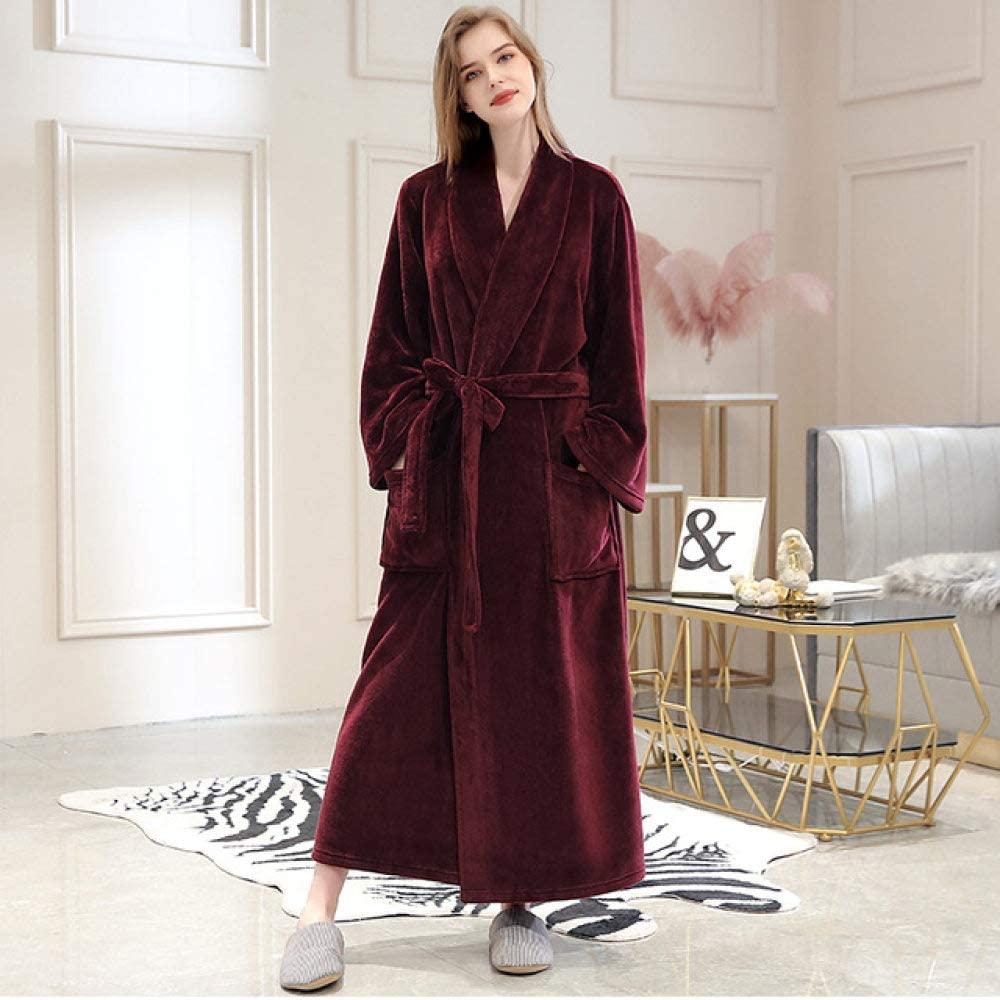 llwannr Bathrobe Robe Nightgown Sleep,Women Winter Warm Plaid Long Flannel Bathrobe 40-130KG Plus Size Bath Robe Cozy Kimono Robes Night Dressing Gown Men Sleepwear,Women Wine,L