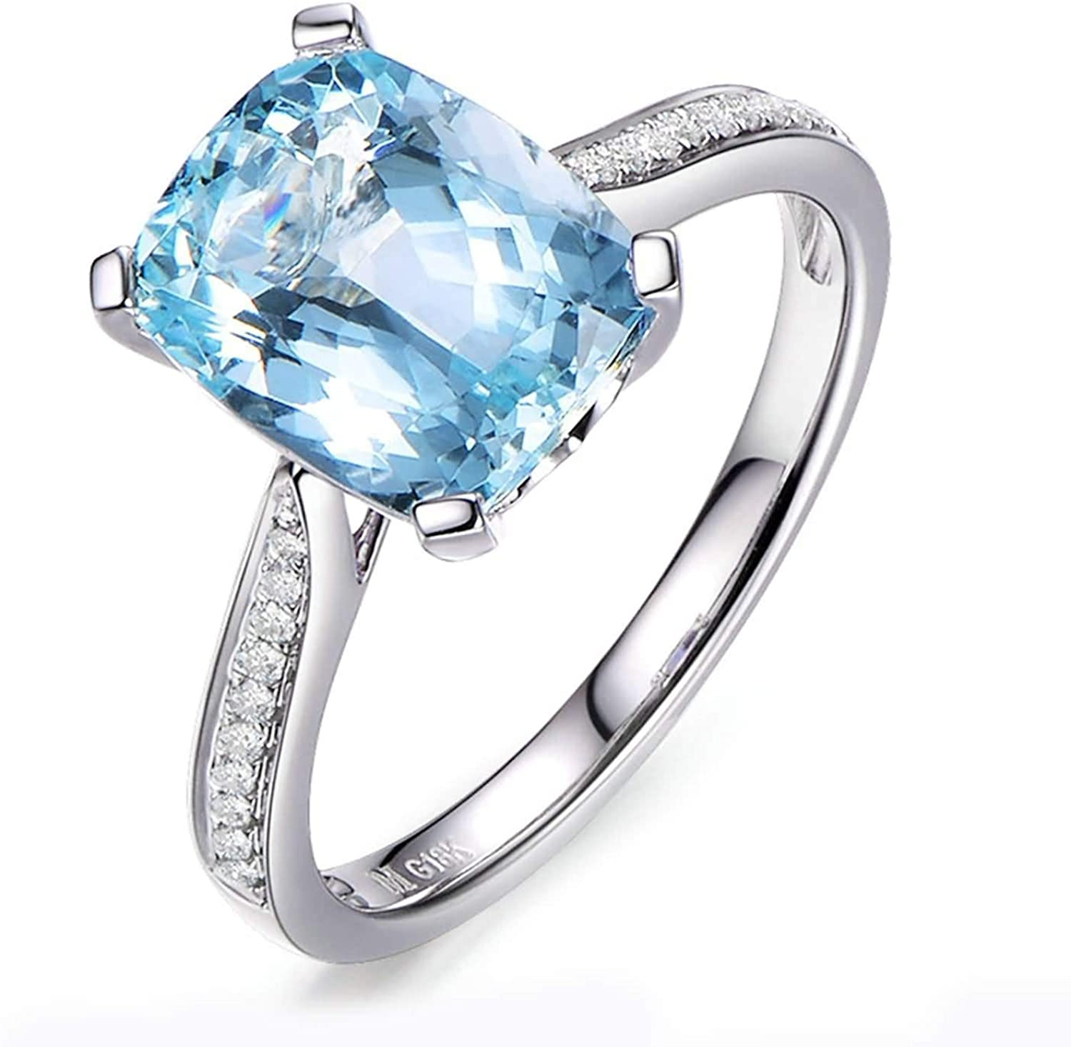AMDXD 18K White Gold Rings for Women, 3.15ct Cushion Aquamarine with 0.1ct Diamond Anniversary Ring Gift for Her White Gold Size 9.5