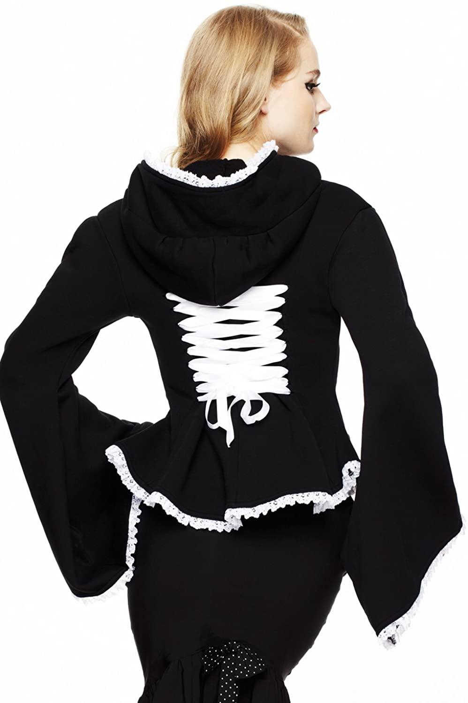 Hell Bunny Black Lace Trim Corset Goth Lolita Kimono Zip Hoodie