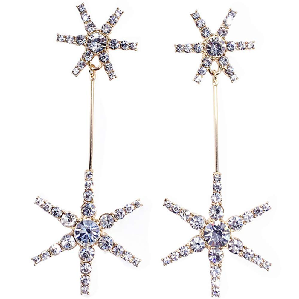 Deniferymakeup 925 Silver Needle Shiny Rhinestone Snowflake Earrings Star Earrings (Gold)
