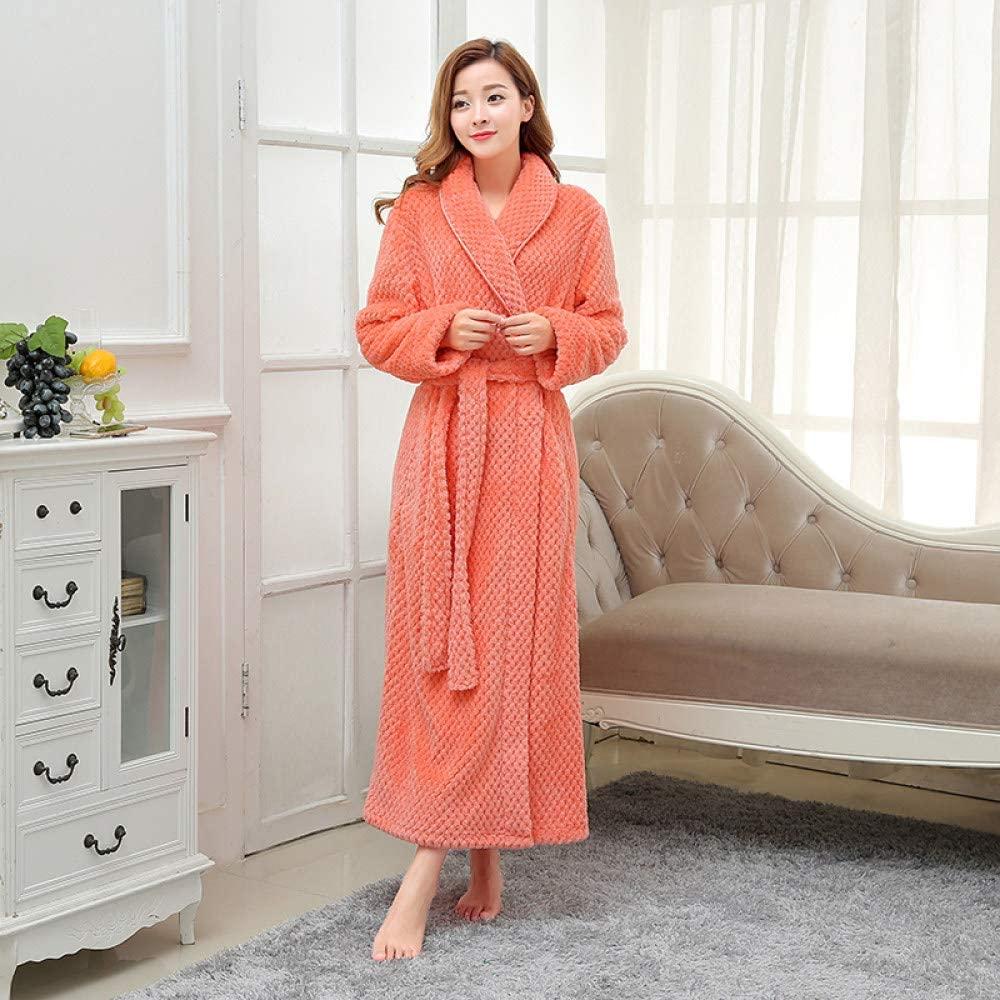 llwannr Bathrobe Robe Nightgown Sleep,Women Extra Long Plus Size Soft as Silk Bath Robe Winter Thick Warm Flannel Bathrobe Kimono Dressing Gown Bride Bridesmaid Robes,Women Orange,L