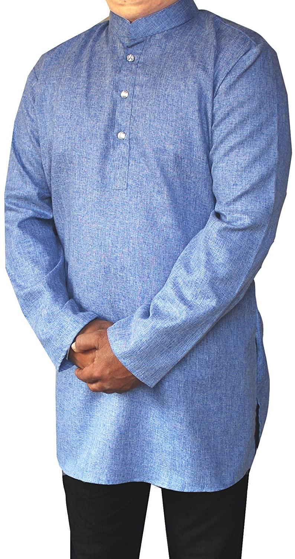 Indian Traditional Cotton Mens Short Kurta Dress Shirt India Fashion Clothes (Blue, XL)