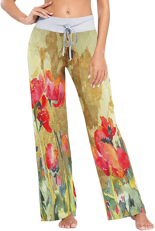 Womens Pajama Lounge Pants Vintage Watercolored Floral Wide Leg Casual Palazzo Pj Sleep Pants Girls