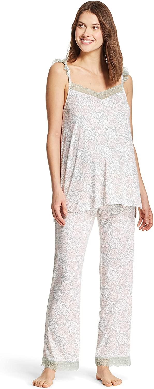 Nanette Lepore WomensMaternity Lace Trim Tank Top and Lounge Pants Pajama Set