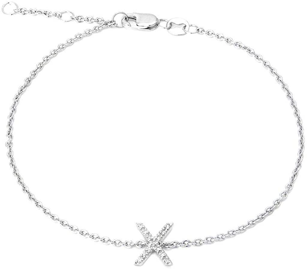 925 Sterling Silver Initial X Single Cut Micro Pave Set 0.05 dwt Diamond Bracelet