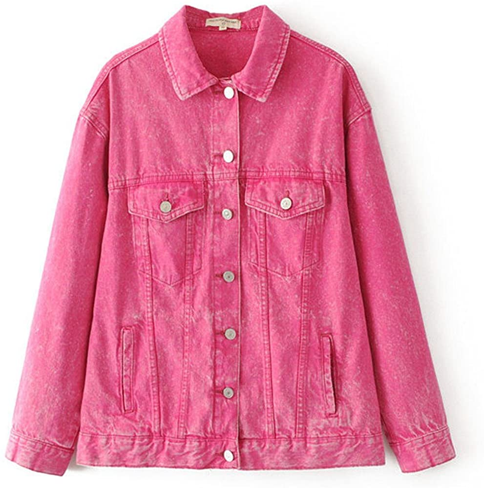 princessdresscode 2017 Women Ripped Wash Denim Jacket Jean Coat Hot Pink Long Sleeve