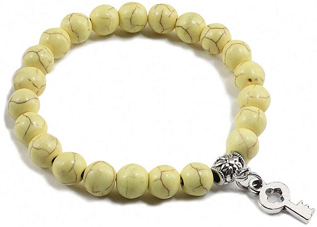 Barsly Charm Couple Bracelet Classic Natural Stone Silver Key Pendant Beaded Bracelets for Women Men Best Friend Jewelry