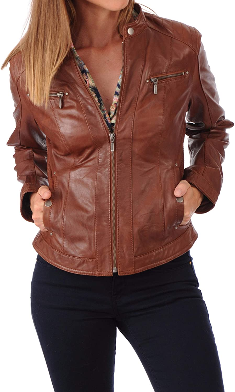 Womens Stylish Genuine Lambskin Motorcycle Bomber Biker Leather Jacket WJ 215