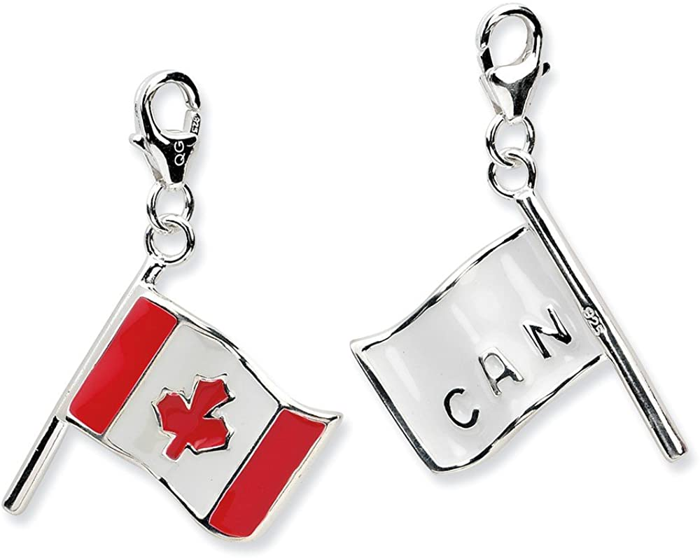 Sterling Silver 3-D Enameled Canadian Flag w/Lobster Clasp Charm