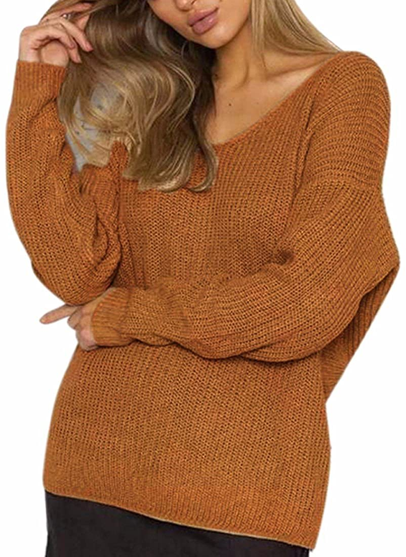 Paixpays Women's Knitted Casual Pullovers Sweater Off Shoulder Long Sleeve