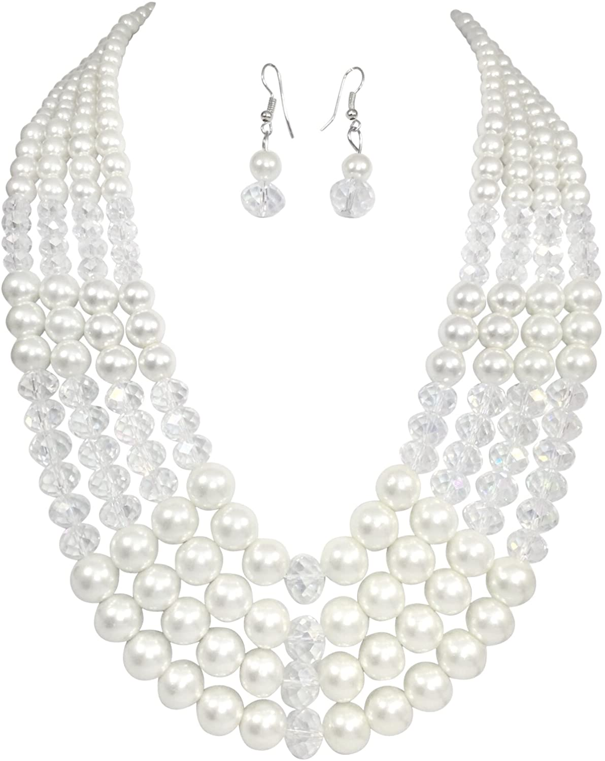 Layered Glass Imitation Pearl & AB Glass Beaded Necklace and Earrings Set