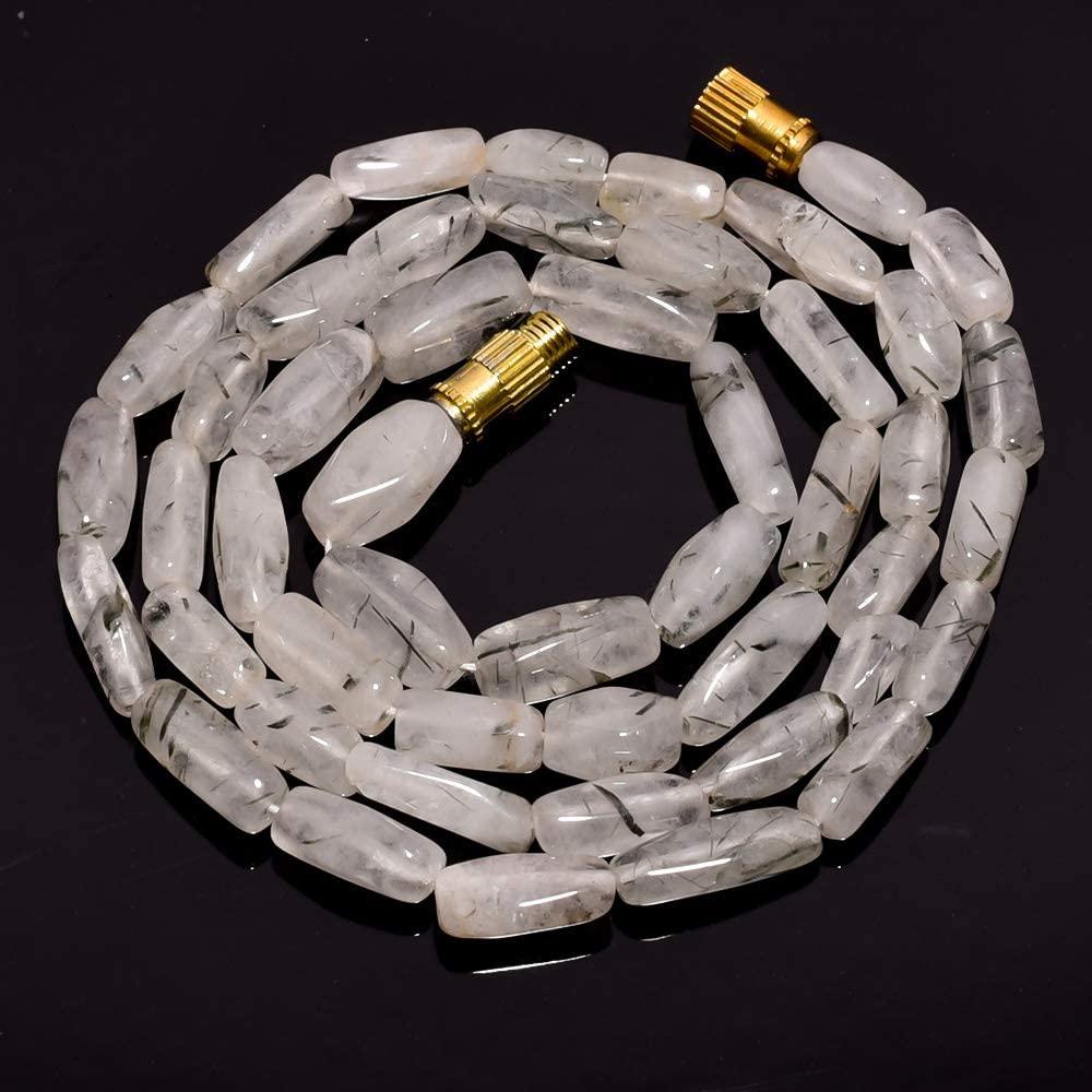 Unique Beads Natural Green Rutile Quartz Gemstone Fancy Beads Barrel Clasp Necklace 17