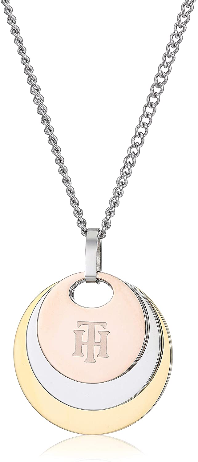 Tommy Hilfiger Women's Jewelry Stainless Steel Tri Color Disc Necklace, Color: Silver, Gold,Carnation (Model: 2780253)