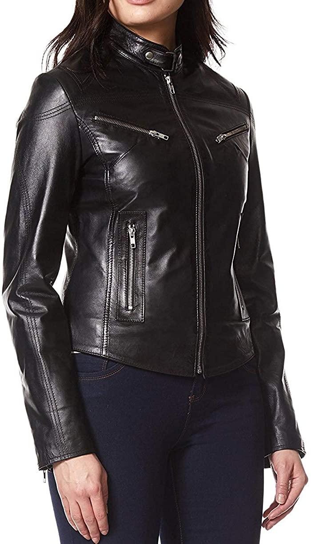 Womens Stylish Genuine Lambskin Motorcycle Bomber Biker Leather Jacket WJ 268