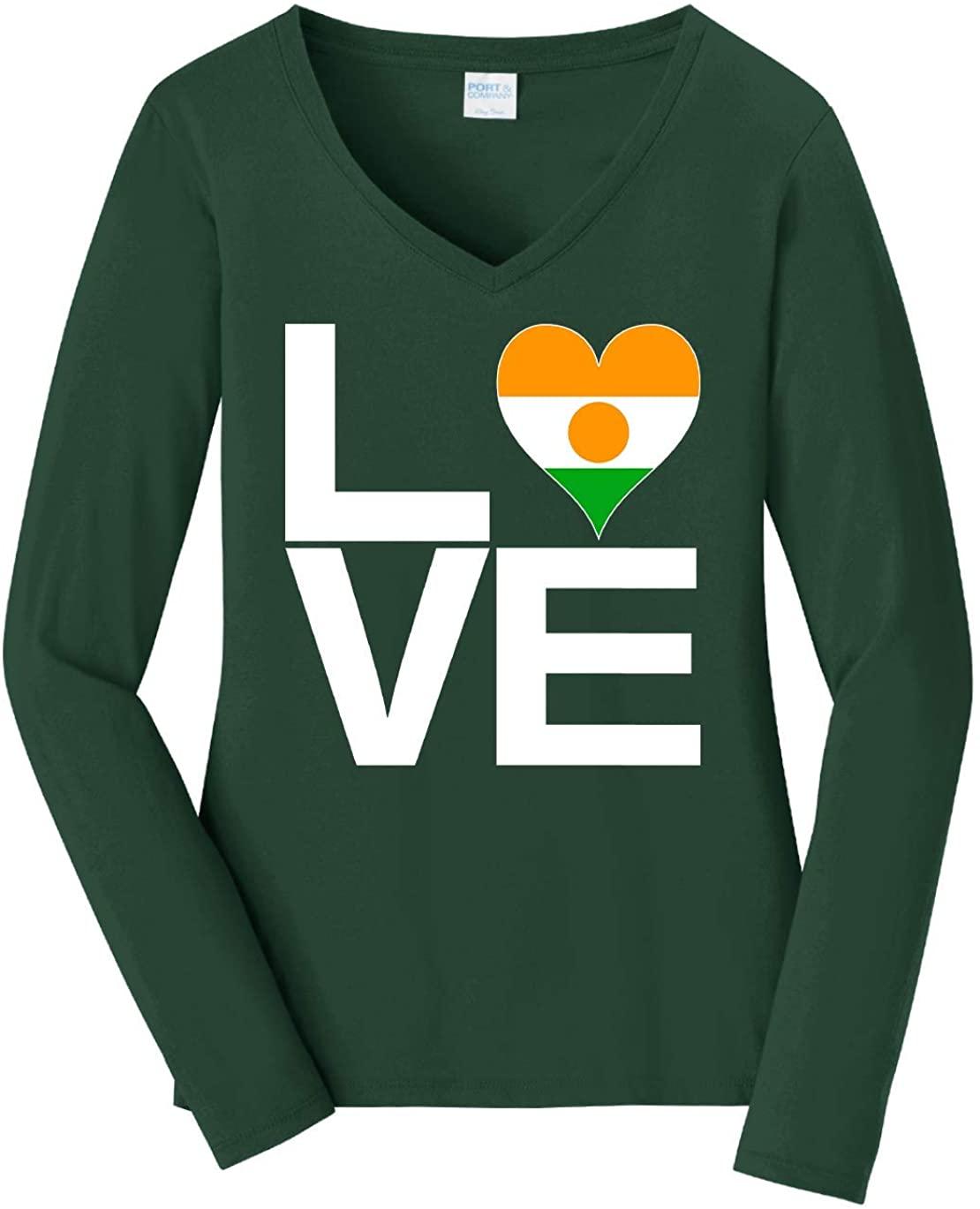 Tenacitee Women's Love Block Niger Heart Long Sleeve T-Shirt