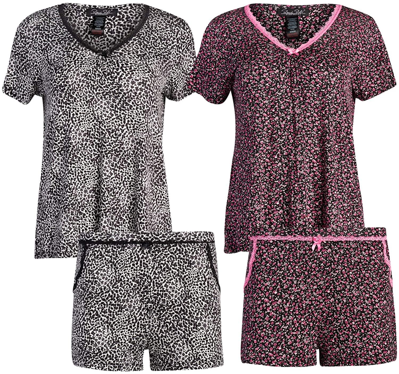 Rene Rofe Sleepwear Women's (4-Piece) Spring Pajama T-Shirt Short Set