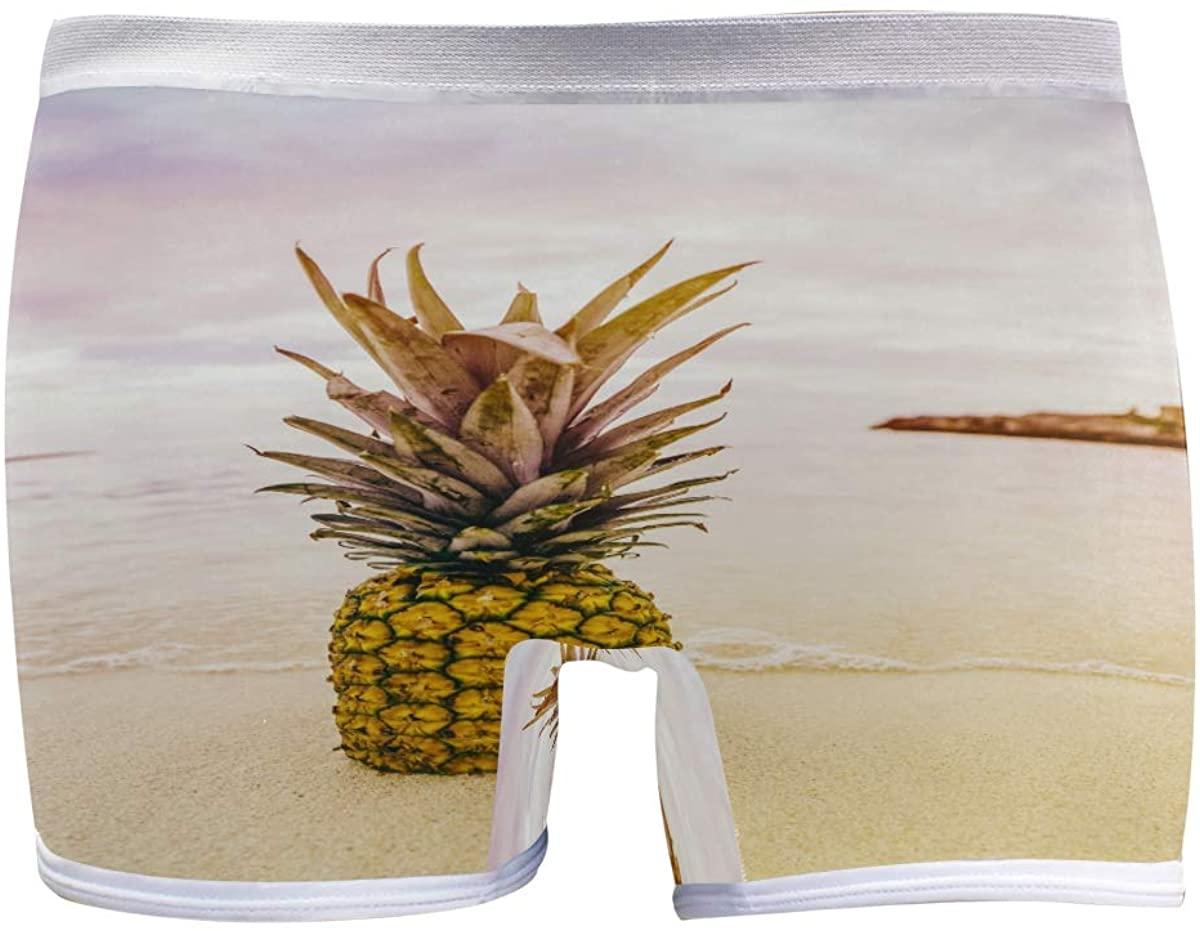 HangWang Womens Underwear Boy Shorts Panties Pineapple Leaves Sea Beach Ladies Seamless Boy Shorts Panties