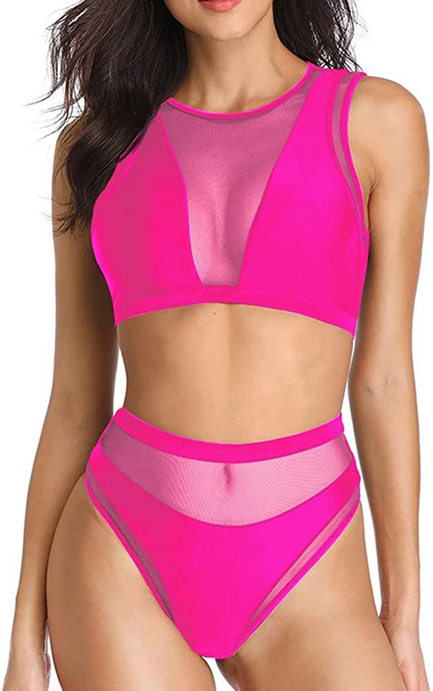 Dixperfect Women's Mesh Bikini Sets High Waisted Beach Swimwear Crop Top Bathing Suit