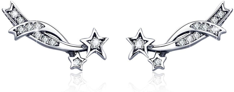 BAMOER 925 Sterling Silver Ear Crawler - Cuff Earrings Cubic Zirconia Ear Climber Earrings for Women Star Stud Earrings