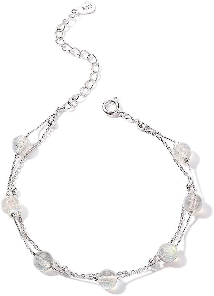 Minshine S925 Sterling Silver Bracelets Women Link Charm Adjustable Girls 14K Gold Chain Minimalist Layering Bracelet Jewelry