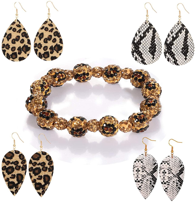 H&W Leopard Print Rhinestone Embellished Beaded Strand Bracelet Leather Snakeskin Dangle Drop Earrings Beads Stretch Bracelet Set