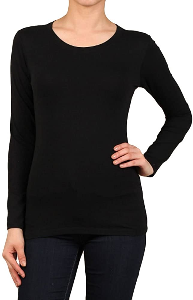 iZZYZX Womens Regular Solid Fitted Round Neck Long Sleeve Cotton Spandex Tops - Small ~ Xlarge