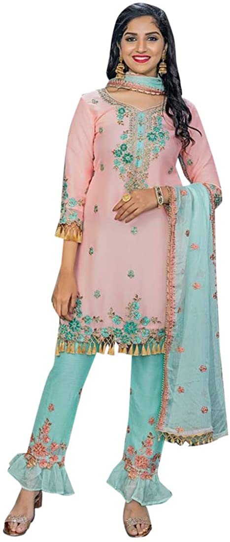 9074 Light pink Hit Indian Latest Bembar Silk Suit Designer Plazzo Pakistani Muslim Party Wedding Cocktail Wear Ethnic Women Girls Semi stitched New Year Eve