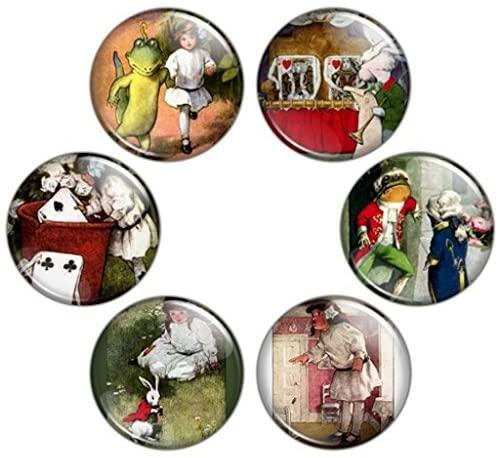Button Bistro Women's Alice in Wonderland 1.25 inch Pinback Button Set #2 Pins