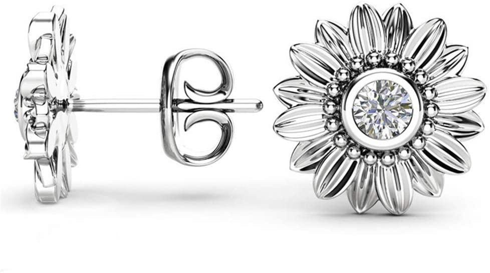 SOURBAN Sunflower Ear Stud Elegant Cubic Zirconia Rose Gold Womens Stud Earrings