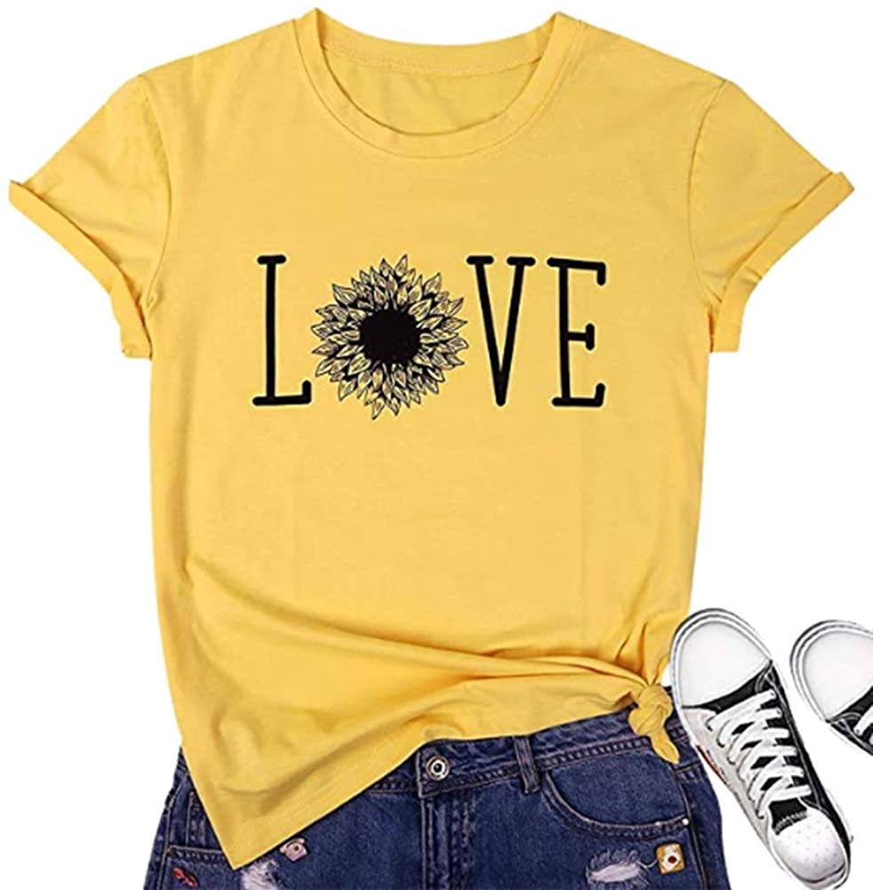 Love Graphic Shirt Women Sunflower Printed T-Shirt Inspirational Letter Printed Casual Crewneck Short Sleeve Top