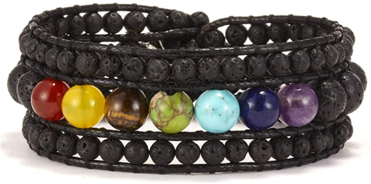 Starto Natural Stone Bracelet Jasper 3 Row Beads Wrap Wrist Statement Boho Bracelet For Women